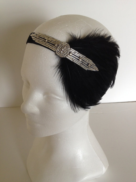 Свадьба - Silver Flapper Headband, Black Feather Headpiece, Silver Art Deco Headpiece 1920s Headpiece Silver Bridesmaids Gifts Fascinator