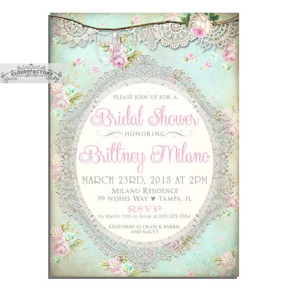 tea party bridal shower invites