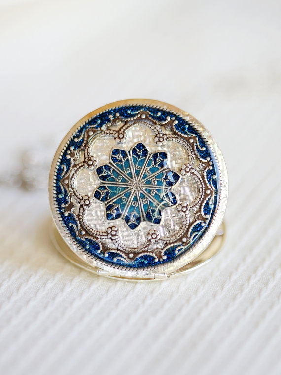 زفاف - Locket Necklace,Jewelry Gift, Silver Locket,Blue Locket,filigree locket necklace,photo locket,Wedding Necklace,bridesmaid necklace