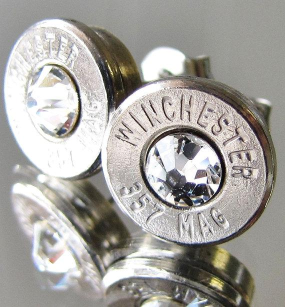 Hochzeit - 357 MAGNUM Winchester BULLET Earrings Choice Crystal Silver Nickel Gold Brass Jewelry Necklace Pendant Belly Navel Ring Bottle Opener Avail