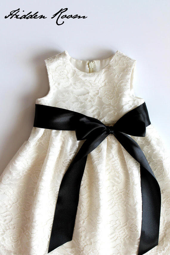 Wedding - Lace Flower Girl dress with  sash and a bow,  SizeT2 - 18
