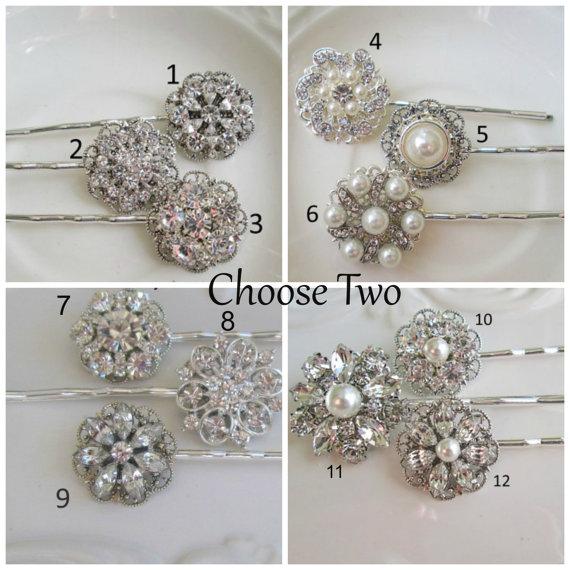 Wedding - 2 Bridal Hair Pins, Bridesmaids Hair, wedding accessories, silver, pearl, crystal, rhinestone,  bobby pins, hair clip