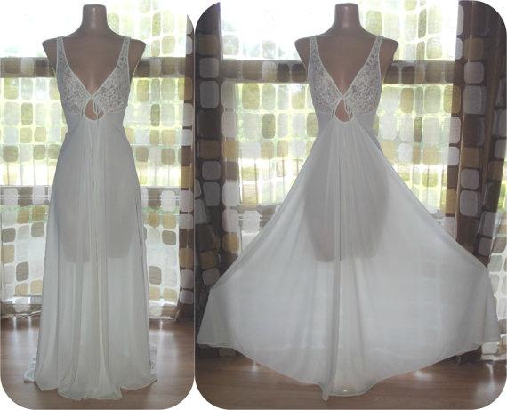 Wedding - Vintage 70s White Nylon & Lace Full Sweep Nightgown L XL Keyhole Sheer Bodice Wedding Bridal Lingerie