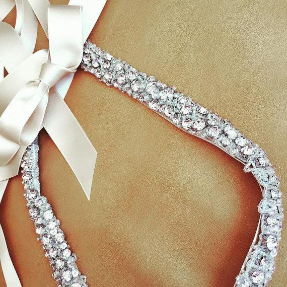 زفاف - Rhinestone Dress Sash - Wedding Sash - Prom Sash - Skinny Sash - WISCONSIN - Crystal Sash - BRAND NEW