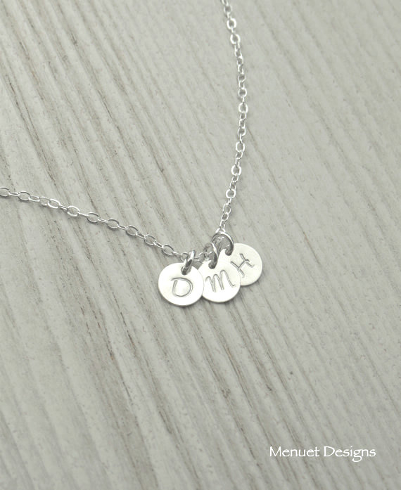 Wedding - Personalized Jewelry, Three Disc Necklace, Gift for Best Friends Sisters, Gift for Her,Friendship Gift,1~5 Discs, Bridal Shower,Tiny Disc