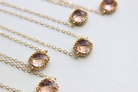 زفاف - 15% OFF SET OF 8 Blush Champagne Bracelet Square Gold Peach Bracelet - Bridesmaid Bracelet - Bridal Bracelet Blush Champagne Wedding Jewelry