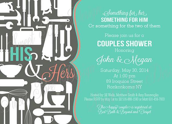 Hochzeit - Couples Shower Invitation for Bridal Shower, Couple Shower - Pots, Pans & Power Tools,  Couples Shower Invitation - Custom Printable