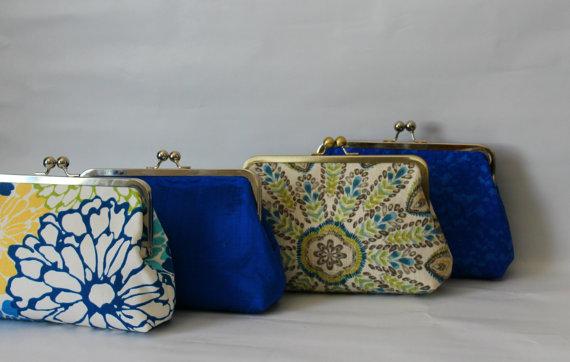 زفاف - Wedding Clutches - Bridesmaids Clutches - Wedding Gifts - Blue Bridal Clutch Sets - Bridesmaid Gifts - Bridal Clutch Set - Set of 4