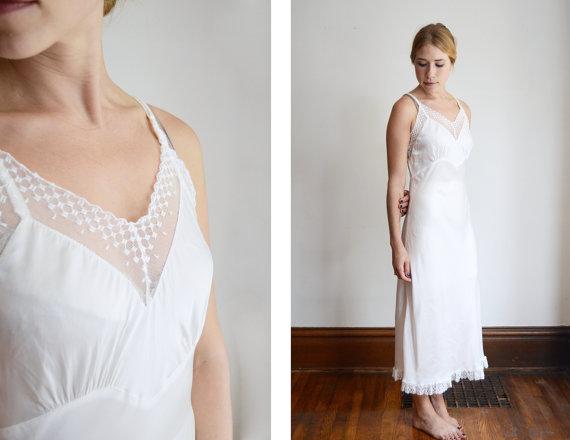 Wedding - 1940s Textron Deadstock White Slip - S