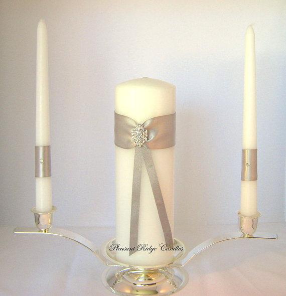 Silver Unity Candle Set Rhinestone Unity Candle Bling Unity