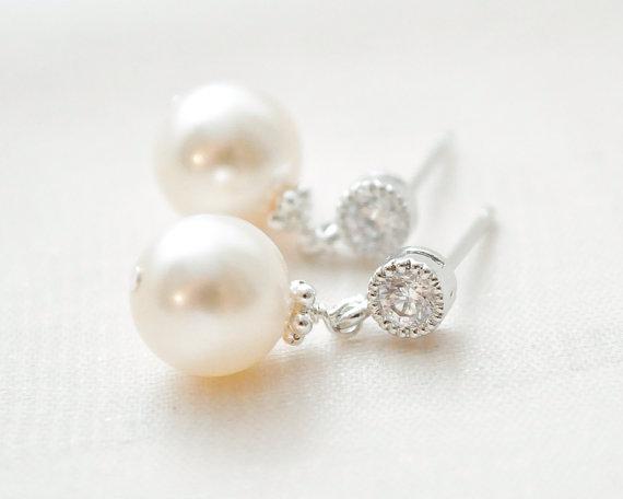 Small Pearl Earrings Drop Ivory Bridal Jewellery