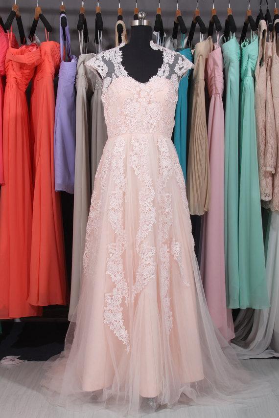Wedding - Elegant V-neck Lace Tulle Wedding Dress, Nude Custom Made Wedding Dress, Lace Bridal Dress, Wedding Dress 2015