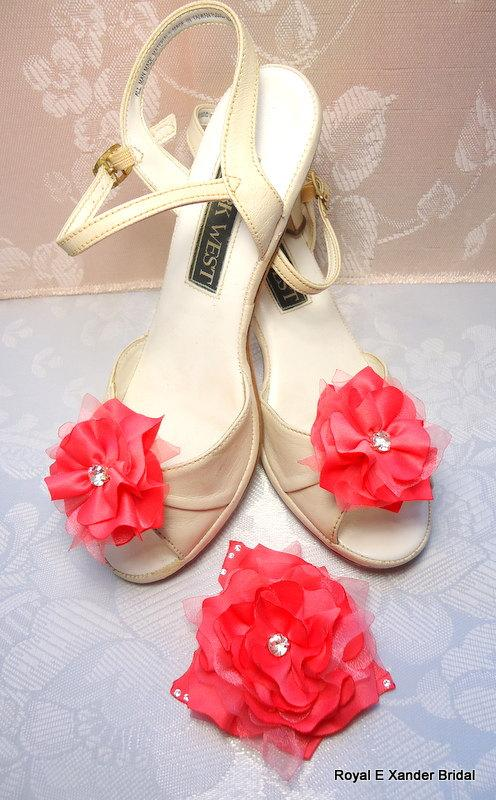 زفاف - Hair Clip & Shoe Clip Set, Coral Satin Organza Hair Clip Matching 'Bonnie Wee' Shoe Clips, 3 Piece Set
