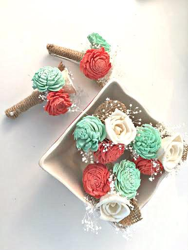 زفاف - 1 Boutonniere made with sola flowers - choose your colors - natural bouquet - balsa wood - Alternative bouquet - bridesmaids bouquet