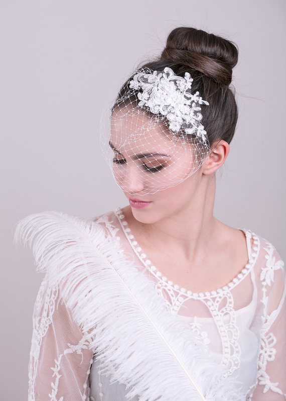 زفاف - Lace birdcage veil in white, ivory or champagne, full birdcage veil, Wedding Veil