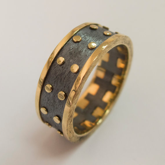 زفاف - Gold Wedding Band, Men's 14K Gold and Oxidized Silver Wedding band, Wedding ring, black and gold ring