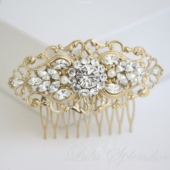 زفاف - Gold Bridal Comb Art Deco Wedding Hair Accessories Vintage Filigree Comb Pearl Rhinestone Hair Piece. BELLA 2