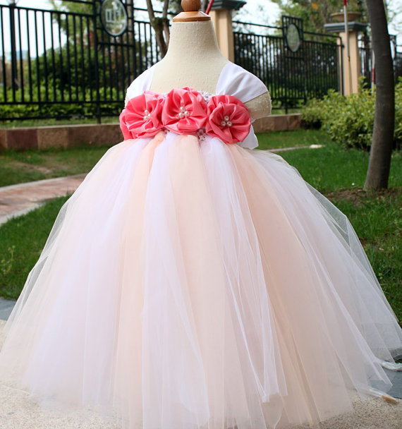 زفاف - Flower Girl Dress Coral Rose tutu dress baby dress toddler birthday dress wedding dress 1T 2T 3T 4T 5T 6T