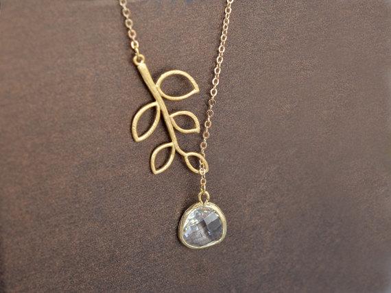 زفاف - SALE, Clear drop and branch gold necklace, Crystal necklace, Lariat necklace, Bridal jewelry, Leaf necklace, Anniversary gift, Goldfilled