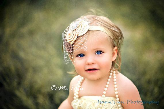 زفاف - Vintage Shabby Chic Premium Birdcage Veil Net Satin Rosettes Baby Child Girls Headband