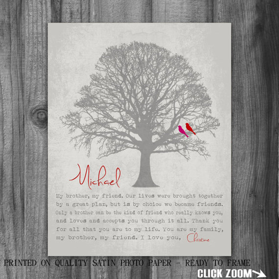 Wedding Gift Ideas For Sister From Brother : Wedding - Personalized BROTHER GIFT Print Gift for Brother Family Tree ...