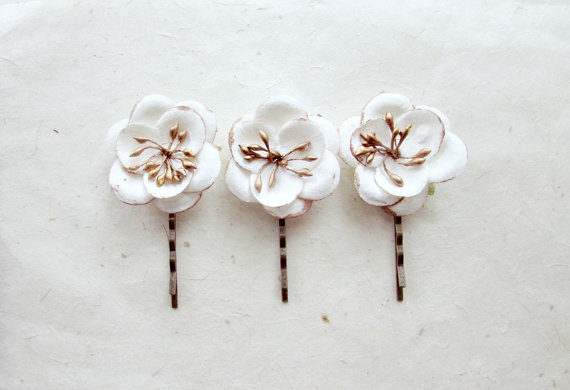 White Flower Hair Accessories With Metallic Bronze Small Clips Bobby Pin Set Ethereal Wedding Flowers