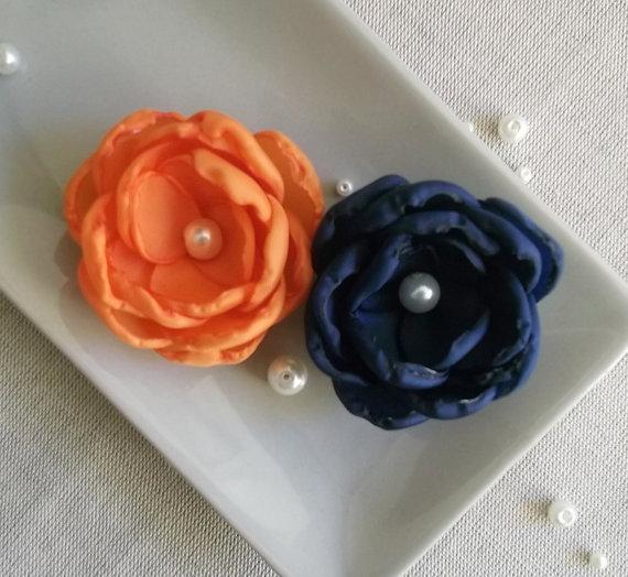 Hochzeit - Navy blue flower, Orange flower, Tangerine flower, Bridesmaids, Dress sash accessories, Hair Shoe Clip Ornaments, Flower girls gift Birthday