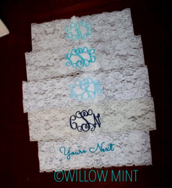 Wedding - Monogram bridal garter; monogram wedding garter; personalized lace garter; something blue; custom bridal garter