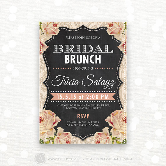 Mariage - Printable Bridal BRUNCH Invite, Bridal TEA Party Invitation, Bridal SHOWER Flyer Instant Download Vintage Chalkboard & Cream Rose Editable