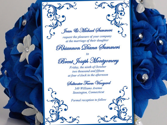 Printable Wedding Invitation Template Horizon Blue Diana DIY