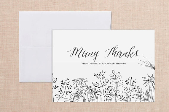 Wedding Thank You Card Printable Set DIY Customized Note