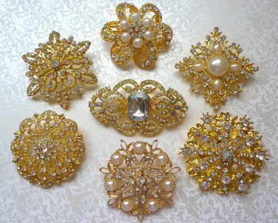 Wedding - 7 pc. GOLD Finish Crystal Pearl Rhinestone Brooches Wedding Brooch Bouquet Wedding Invitations Dress Sash