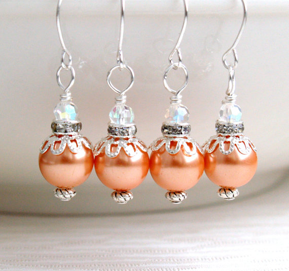 Mariage - Bridesmaid Jewelry Orange Jewelry Earrings Rhinestone Bridesmaids Gift Flower Girl Earrings Jewelry Orange Pearl Weddings Beaded Jewelry