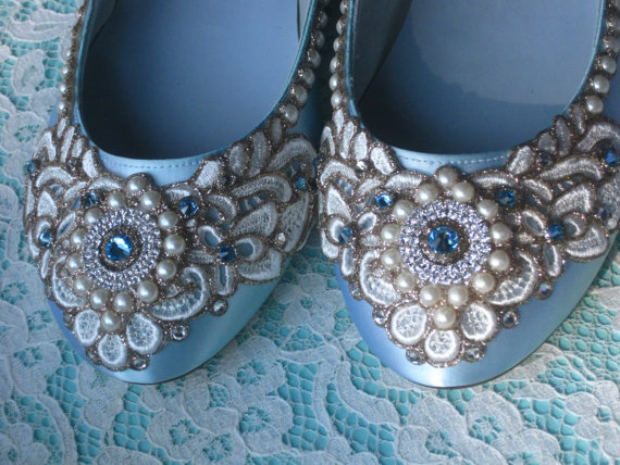 4bd588d201ce4b Wreath of Gold Bridal Ballet Flats Robin s Egg Blue Wedding Shoes - Any  Size - Pick your own shoe color and crystal color