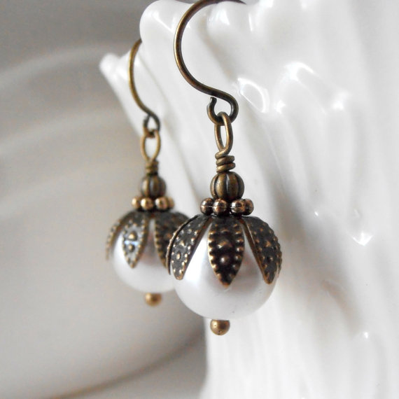 زفاف - Ivory Pearl Bridesmaid Earrings, Rustic Wedding Jewelry, Antiqued Style Off White Pearl Earrings, Simple Bridal Jewelry, Bridesmaid Gifts