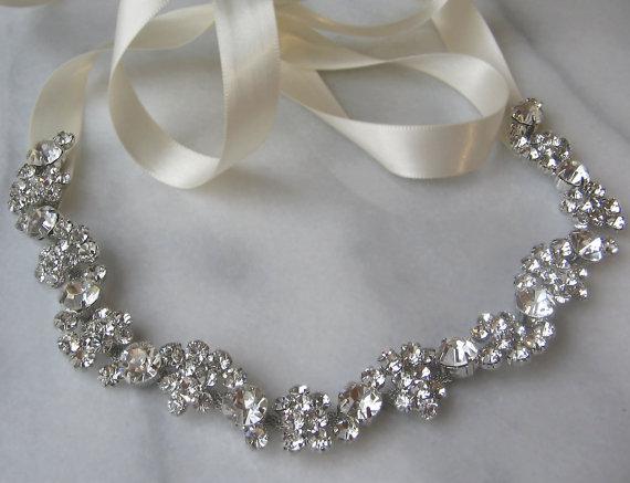 Hochzeit - Rhinestone Bridal Headband, Rhinestone Wedding Head Piece, Rhinestone Headband - SOLEIL