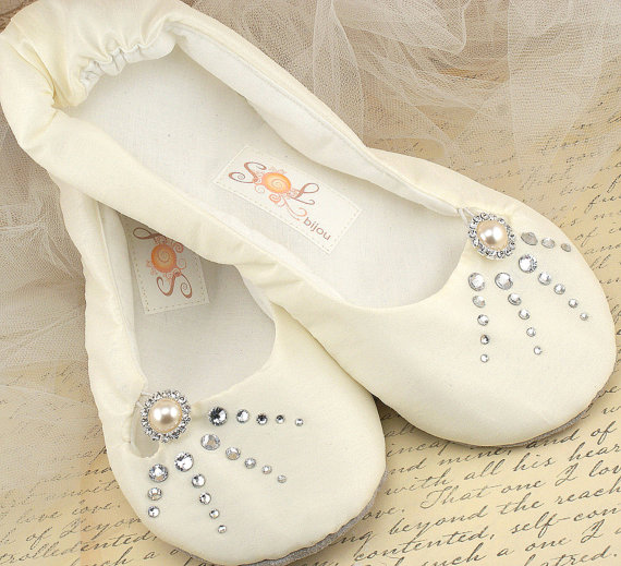 Bridal Ballet Flats Ballerina Slippers Shoes In Ivory Satin With Swarovski Crystals And Pearl Jewel
