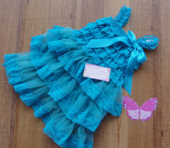 زفاف - Flower Girl Dress Lace Dress Wedding Rustic Country Junior Bridesmaid, Turquoise Teal Petti dress, Gift, Birthday RTS Op Baby Girl Toddler
