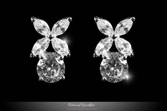 6 Carat Cubic Zirconia Marquise Round Cut Flower Cer Stud Earrings Vintage Fl Cz Diamond Statement Studs Bridal Bridesmaid