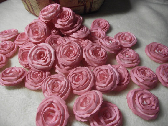 Wedding - Handmade Wedding Paper Flowers...200 Piece Set of Very Pretty Shabby Chic Made to Order Scrapbook Paper Flower Rolled Roses