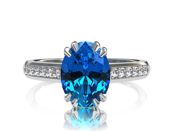 Mariage - Blue topaz ring, engagement ring, diamond, blue topaz engagement, white gold, solitaire, oval cut, unique, custom