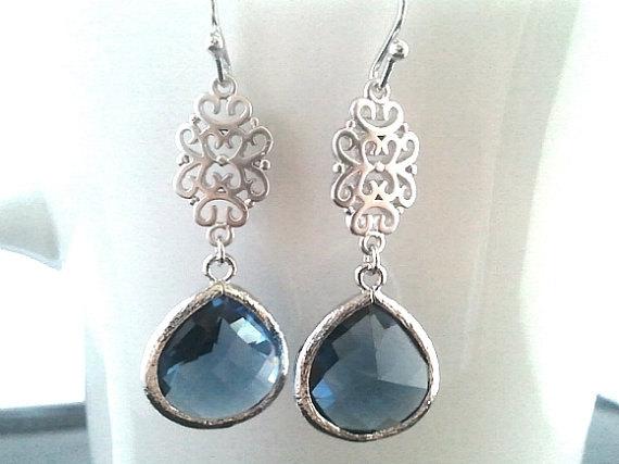 Свадьба - Sapphire blue Silver Earrings, Navy Dangle earrings, Drop,Wedding Earrings,Gemstone,Bridesmaid Earrings, Wedding Jewelry