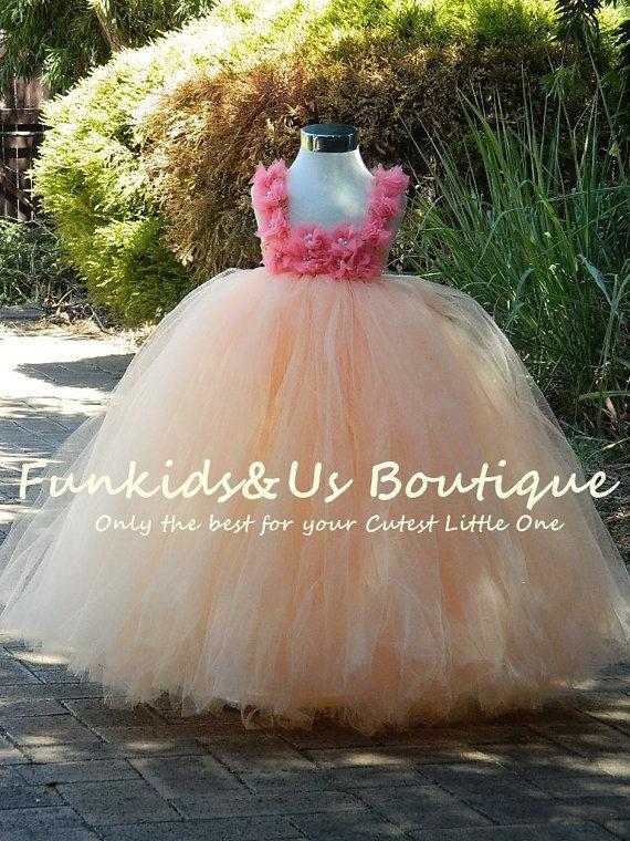 زفاف - Flower Girl Dress Tutu-  Champagne Tutu Dress-Toddler, Baby, Girls, Weddings, Birthdays
