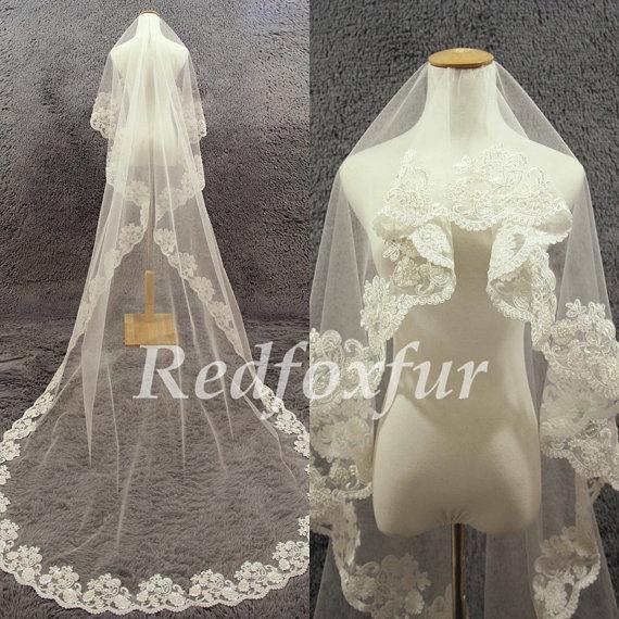 Hochzeit - Fashion 1T Bridal Veil Ivory Cathedral Veil Hand-beaded Alencon lace veil Lace edge veil Wedding dress veil Wedding Accessories No comb