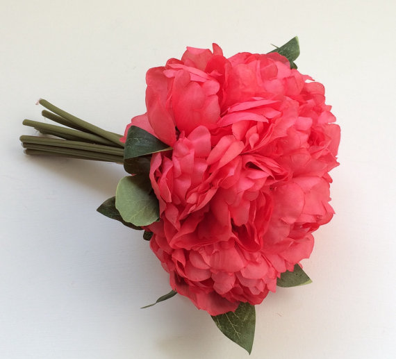 Artificial flowers one coral peony bouquet budget silk flowers artificial flowers one coral peony bouquet budget silk flowers wedding flowers wedding bouquet mightylinksfo Image collections