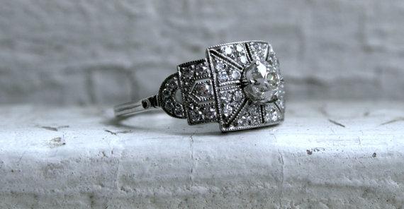 زفاف - Vintage Art Deco Platinum Diamond Engagement Ring - 1.34ct.