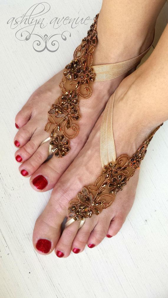 Mariage - Barefoot Sandals - Foot Jewelry - Bronze Gold Lace - Beach Wedding - Bottomless Sandals - Brides Bridesmaids - Reception Shoes - Bridesmaids