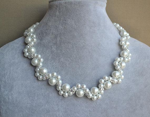 زفاف - white pearl Necklace,Glass Pearl Necklace,Pearl flower Necklace,Wedding Necklace,bridesmaid necklace,Jewelry