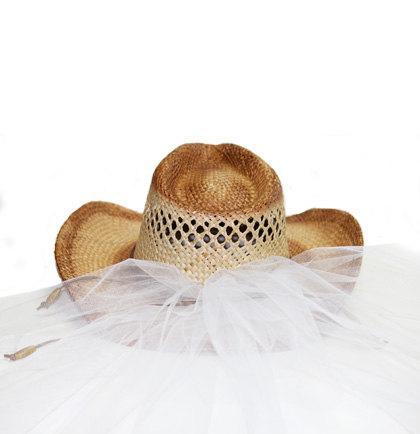 زفاف - Western Bride Hat with Veil - Straw