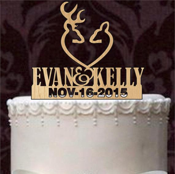 Wedding - Deer wedding cake topper, Custom Cake Topper, Personalized cake topper, Monogram Cake Topper, Mr and Mrs, cake Decor, Bride and Groom